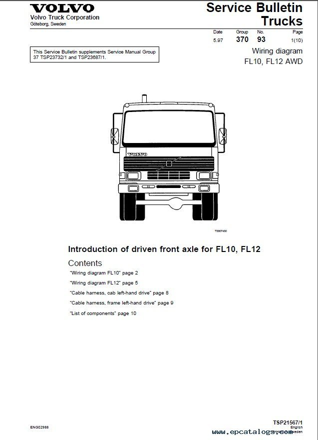 Volvo Trucks FL7  FL10  FL12    Wiring       Diagram    Manual PDF