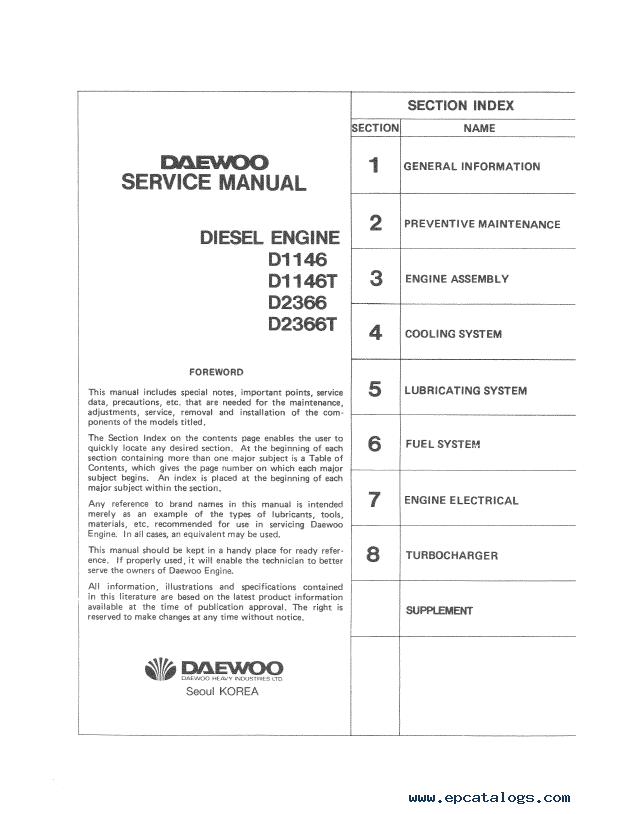 daewoo doosan storm engine d2366 t d1146 t repair manual pdf rh epcatalogs com Diesel Preventative Maintenance Diesel Truck & Motorhome Maintenance