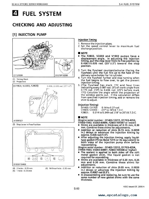Kubota 92 4mm Stroke Series (03 Series) Diesel Engine Workshop Manual PDF  9Y011-02460