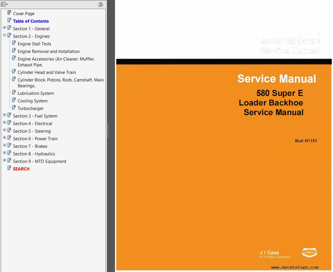 Case 580E & 580S Backhoe Loader Service & Operator's Manuals & Parts  Catalog PDF
