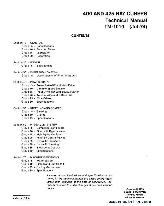 john deere 400  425 hay cubers tm1010 technical manual pdf