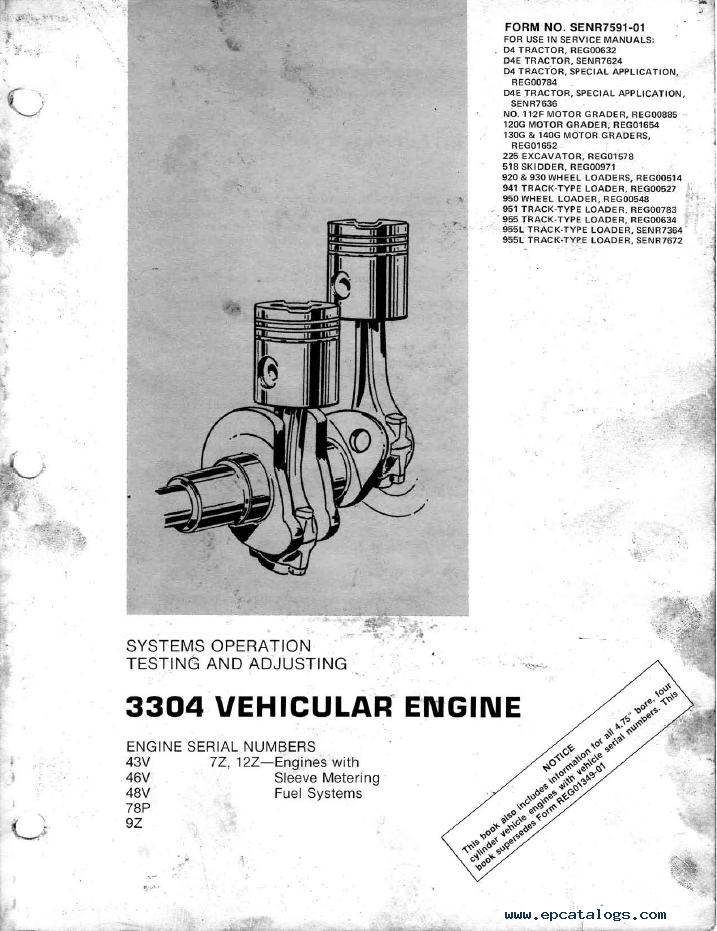 caterpillar 3304 vehicular engine pdf books manuals rh epcatalogs com 3204 cat engine service manual 3304 Cat Lift Pump