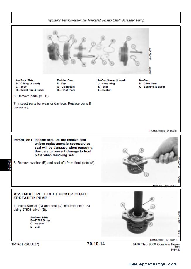 John Deere 9400 9500 9600 Combines Repairs TM1401 Technical Manual ...