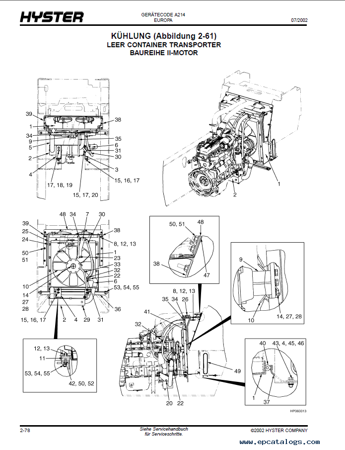 Hyster Challenger  A214  Forklift Pdf Parts Manual Gr Only