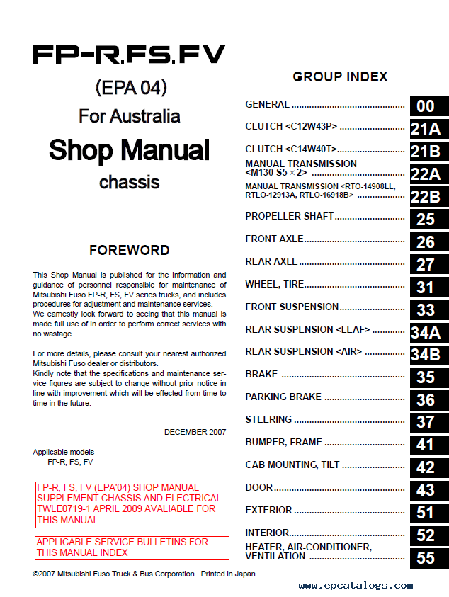 mitsubishi fuso 6m7 fighter for australia shop manual pdf rh epcatalogs com 2007 Mitsubishi Fuso VIN Mitsubishi Fuso Engine Manual