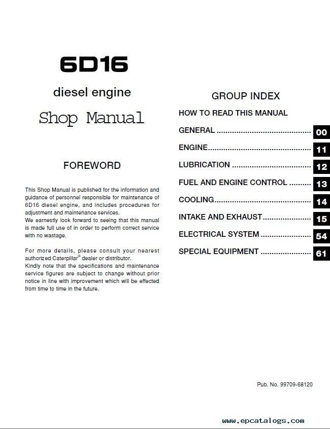 caterpillar 6d16 diesel engine forklifts service manual pdf rh epcatalogs com Mitsubishi Montero Engine Manual Mitsubishi Outlander