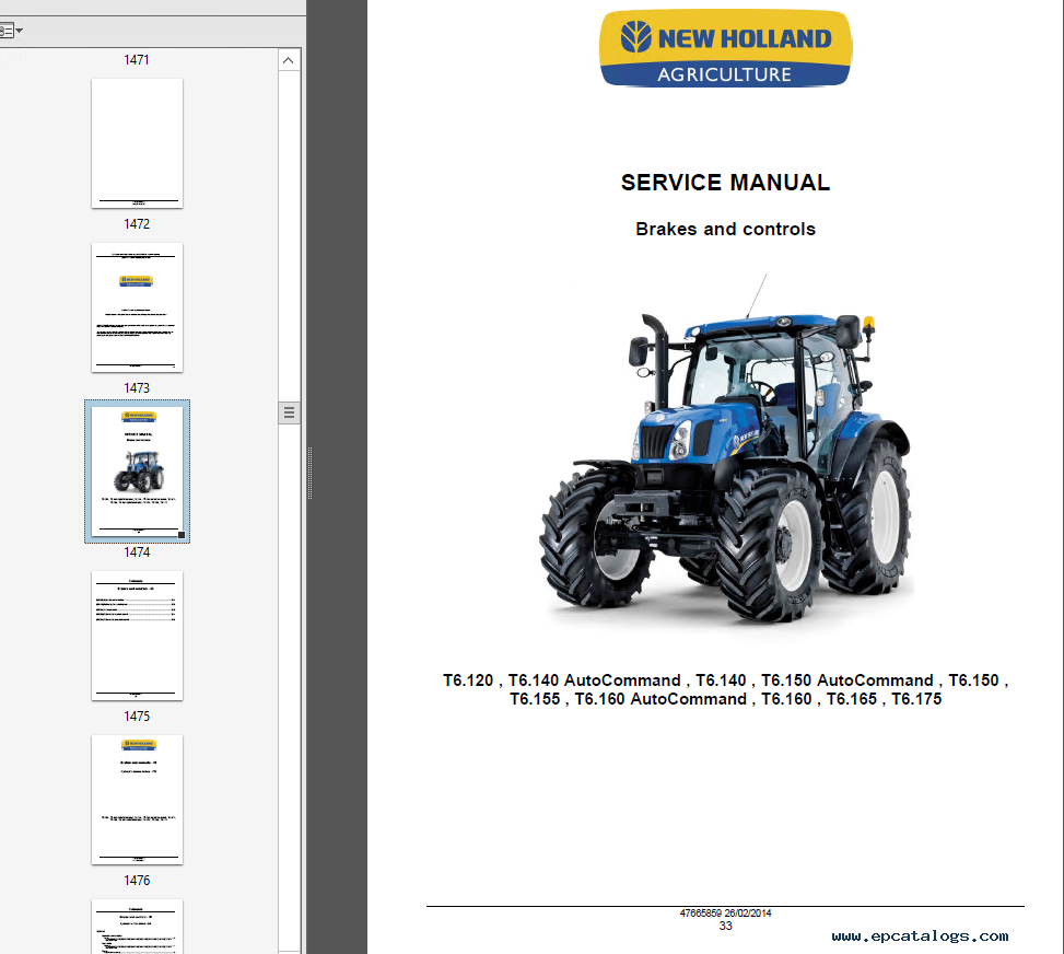New Holland Tractor Manuals : New holland t series tractors service manual pdf