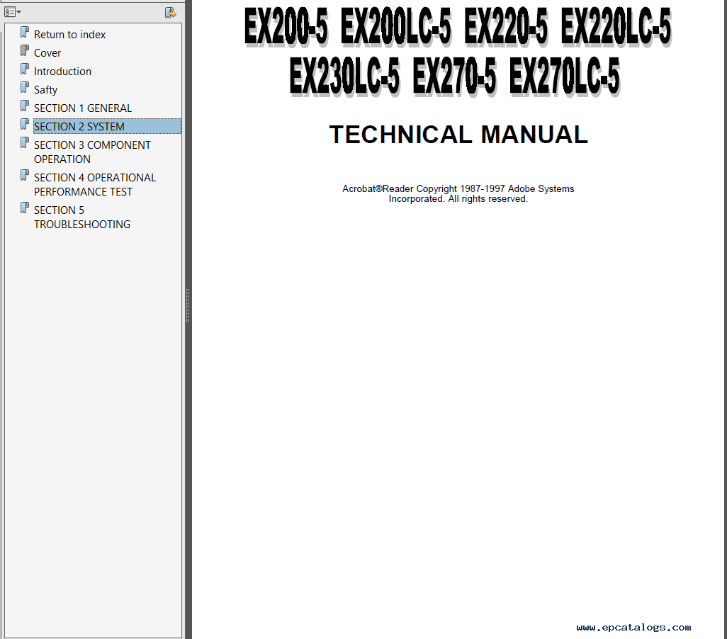 repair manual Hitachi EX200-5 EX200LC-5 EX220-5 EX220LC-5 EX230LC