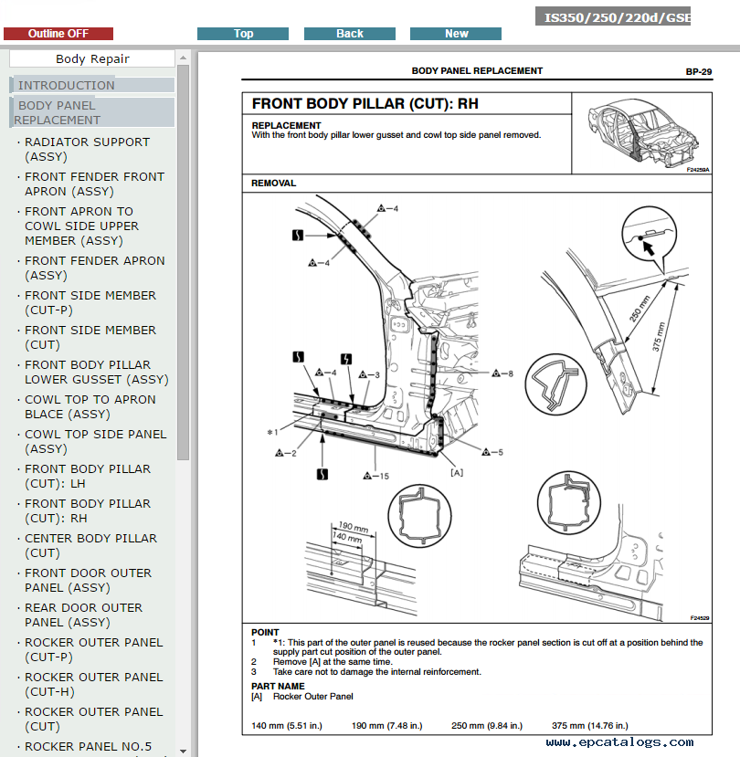 lexus is250, 220d service manual