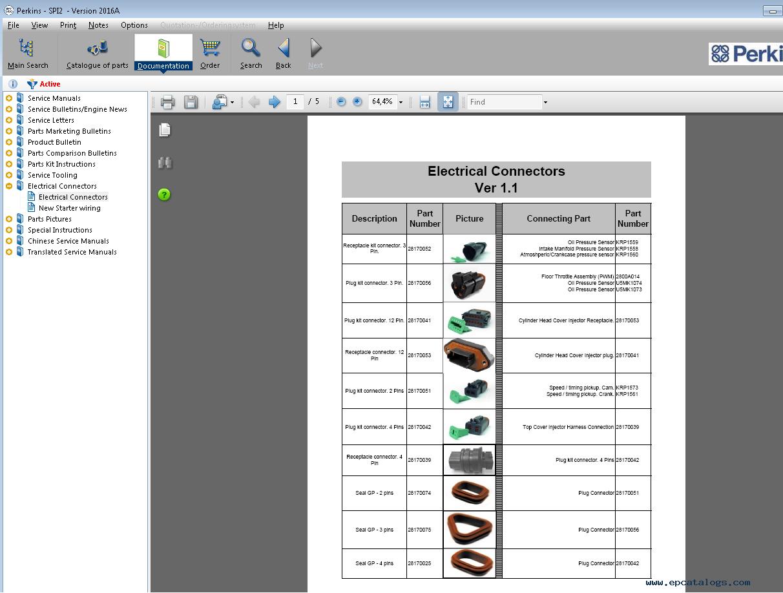 Perkins SPI2 2016A Dealer Parts and Service Manuals
