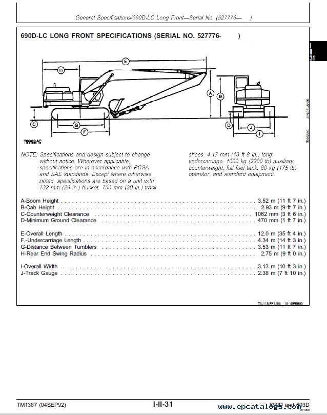 John Deere 690D, 690D-LC, 693D Operation and Test TM1387 Technical Manual  PDF