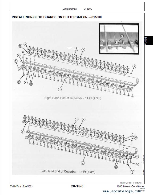 JD 1600 Mower Conditioner TM1474 Technical Manual PDF
