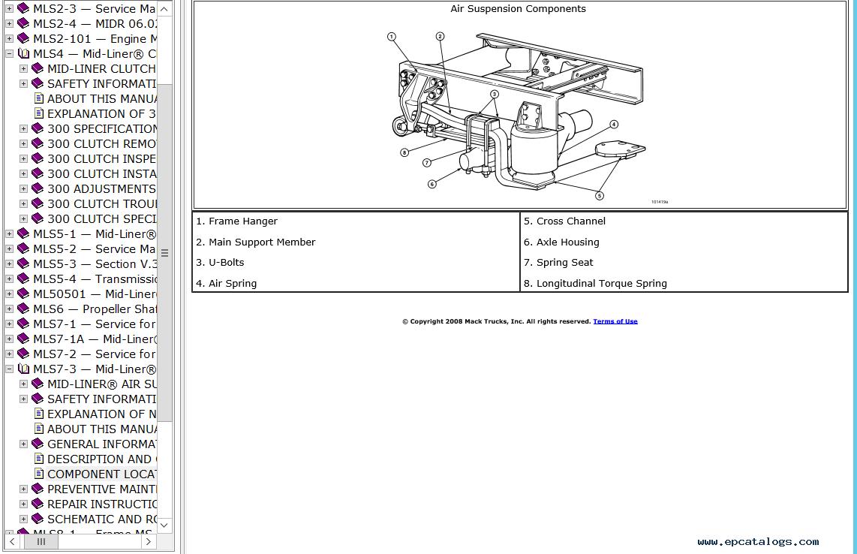 mack class 8 and medium duty trucks master manuals