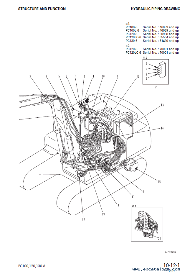 komatsu hydraulic excavator pc100  120  130