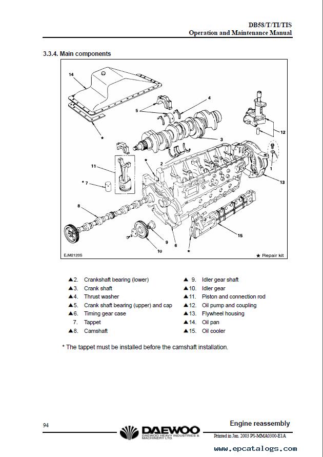 daewoo doosan db58 db58s db58t db58ti db58tis diesel engine enlarge