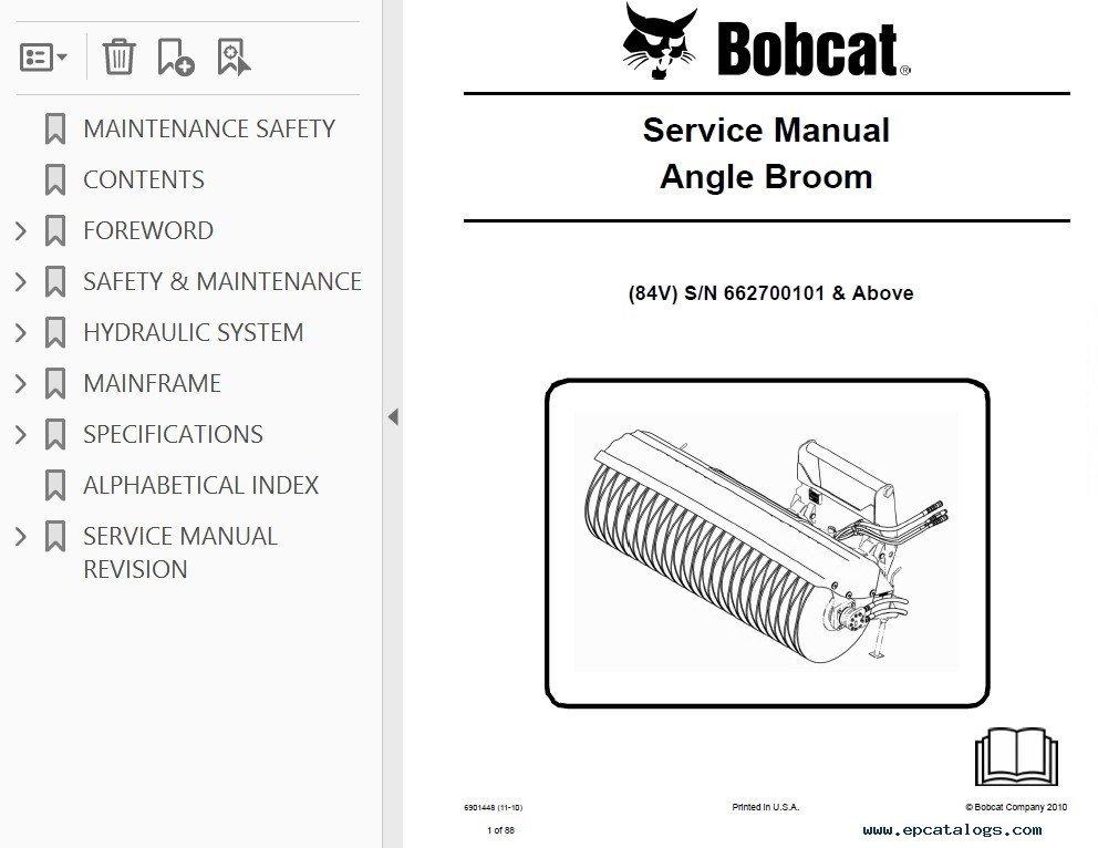 bobcat angle broom service manual pdf rh epcatalogs com bobcat 68 angle broom wiring diagram Bobcat Broom Parts