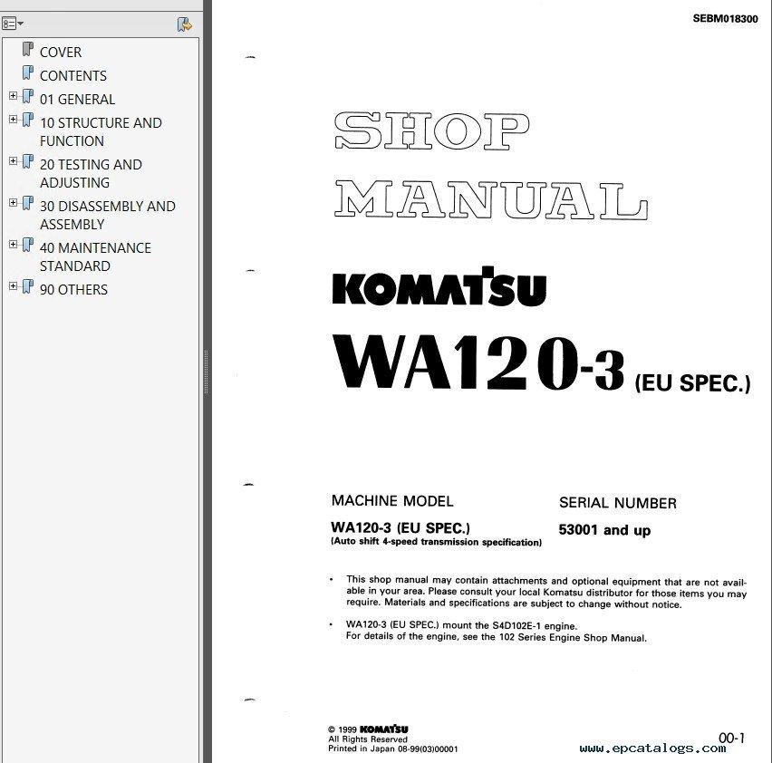 komatsu wa120 3 wa120 3a wa120 3 eu wheel loader pdf rh epcatalogs com Komatsu Wheel Loader WA 1-50 Mini Komatsu Loader