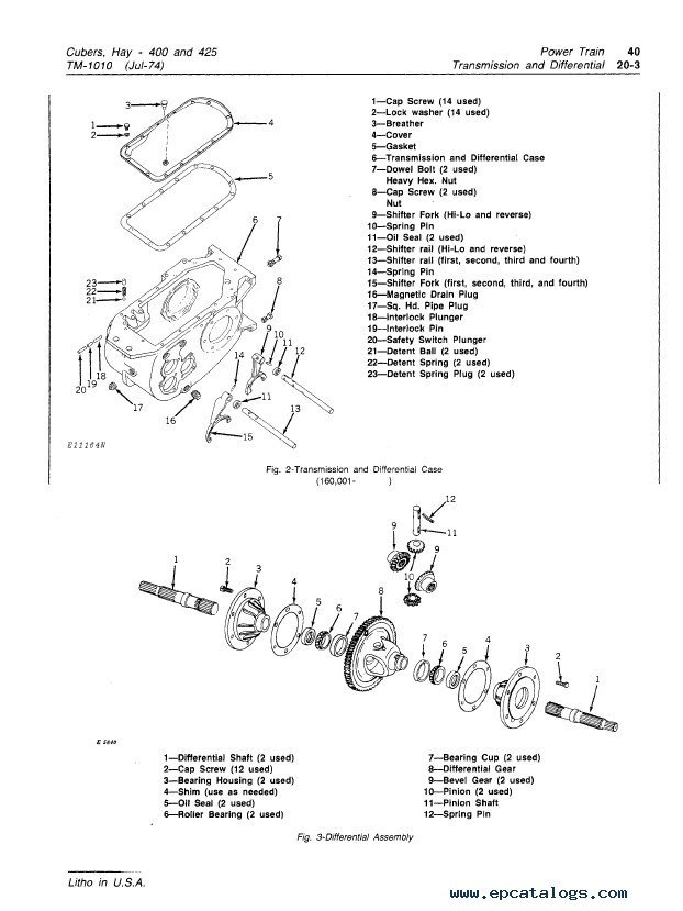 John Deere 400 425 Hay Cubers TM1010 Technical Manual PDF