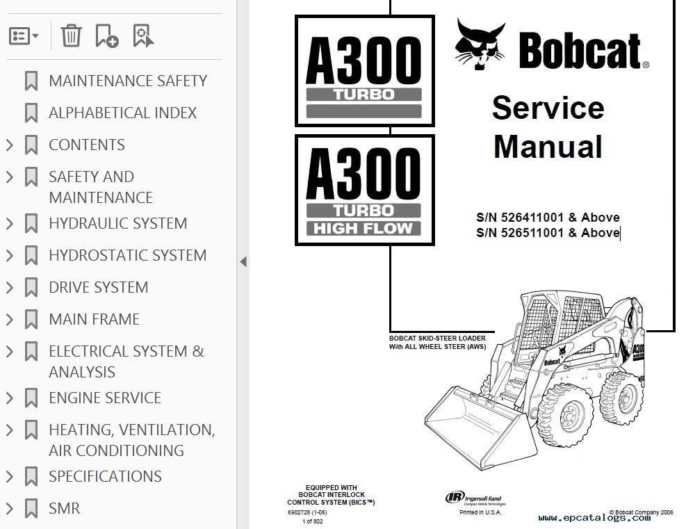 bobcat a300 repair manual high flow major topics are covered step by step instruction diagrams illustration wiring schematic specifications troubleshoot