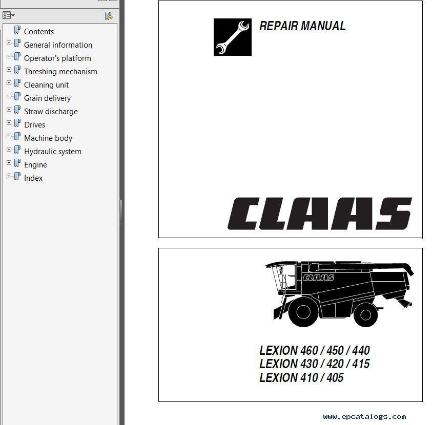 claas lexion 405 410 415 420 430 440 450 460 480 pdf rh epcatalogs com Claas Lexion Repair Claas Lexion Repair