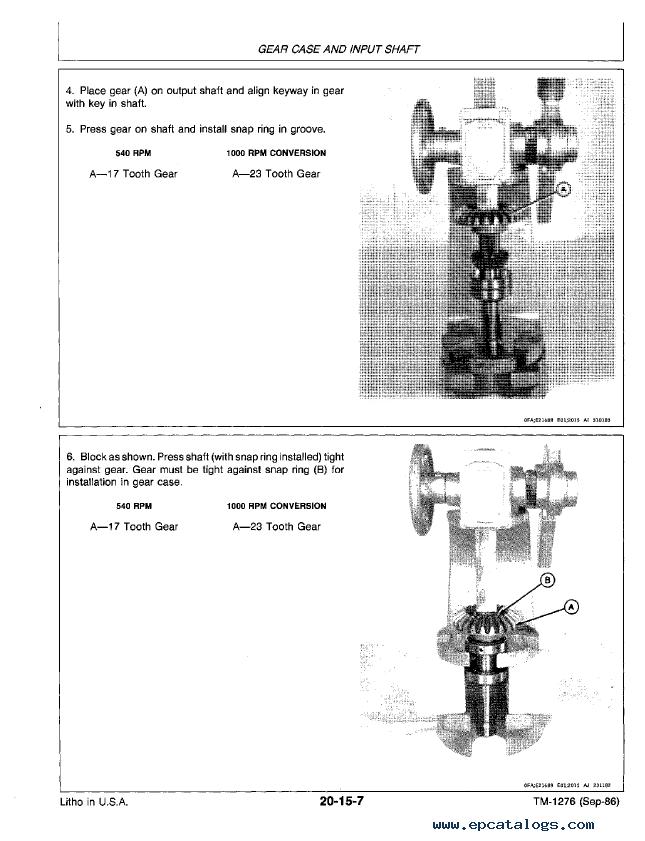 John Deere 430 530 Round Balers Tm1276 Technical Manual