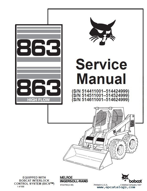 bobcat 863 863hf skid steer loaders service manual pdf rh epcatalogs com