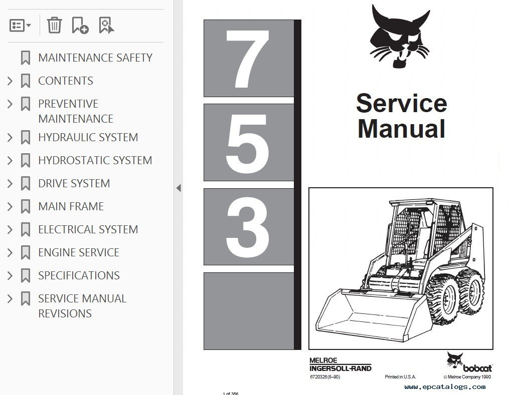 repair manual bobcat 753 skid steer loader service manual pdf - 2