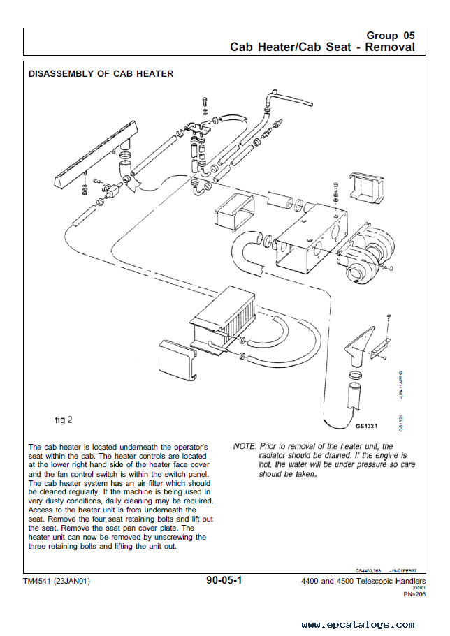 john deere 4400 4500 telescopic handlers technical manual rh epcatalogs com john deere 4500 parts manual john deere 4500 manual backhoe removal