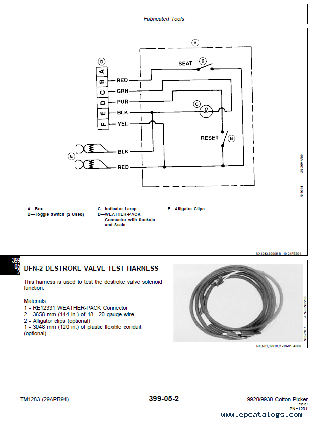 John Deere 9920 9930 Cotton Picker Tm1283 Technical Manual