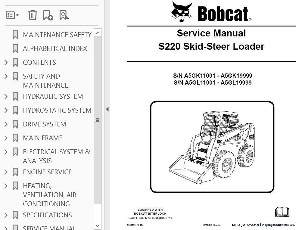 Bobcat S220 Skid Steer Loader Service Manual Pdf