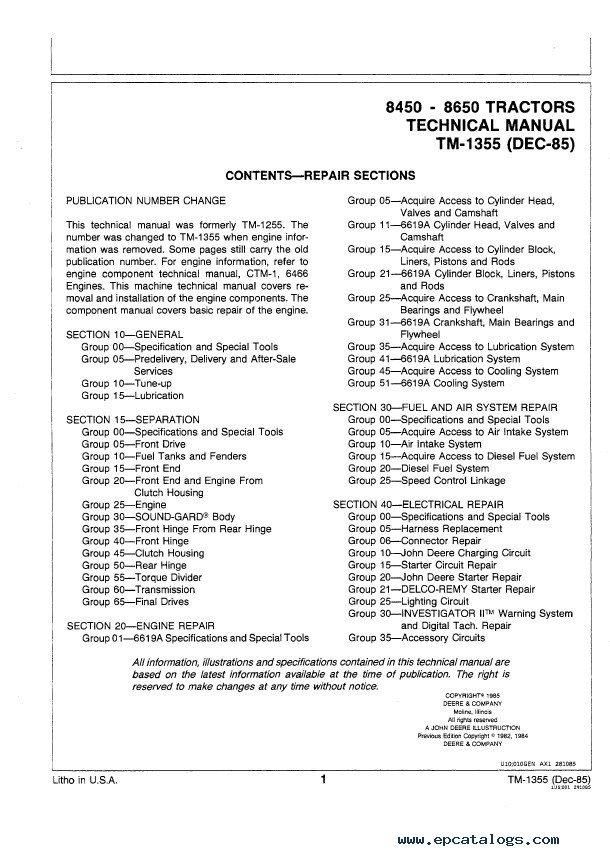 john deere 8450 8650 tractors tm1355 technical manual pdf rh epcatalogs com John Deere 7020 john deere 850 manual free download
