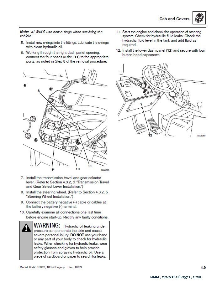 Jlg Skytrak Telehandlers 8042 10042 10054 Ansi Repair Manual