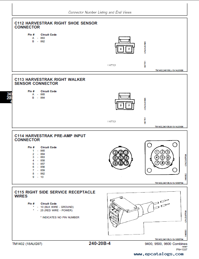 john deere 9400, 9500, 9600 combines diagnosis and tests tm1402 technical manual pdf circuit breakers engine compartment