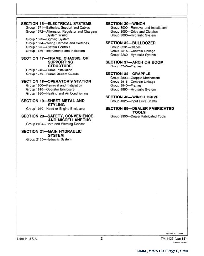 John Deere 340D, 440D, 448D Skidders Repair TM1437 Technical Manual PDF