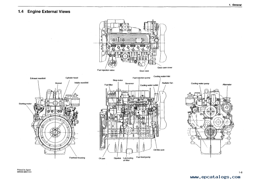 yanmar industrial diesel engine 4tne94  98  106 t  service