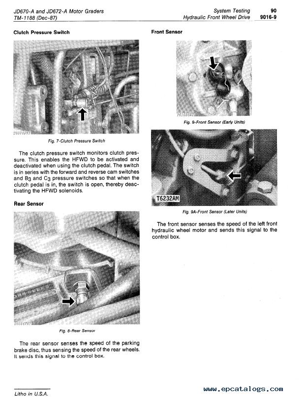 john deere 670a 672a motor grader operation u0026tests tm1188