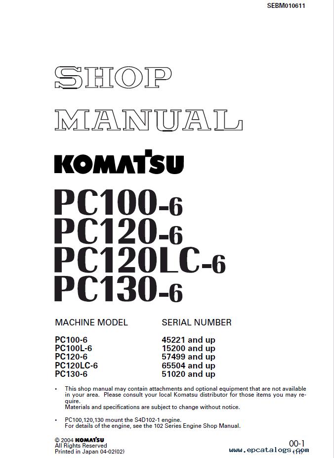 Komatsu Hydraulic Excavator Pc100 120 130 6 Set Of Pdf Manual