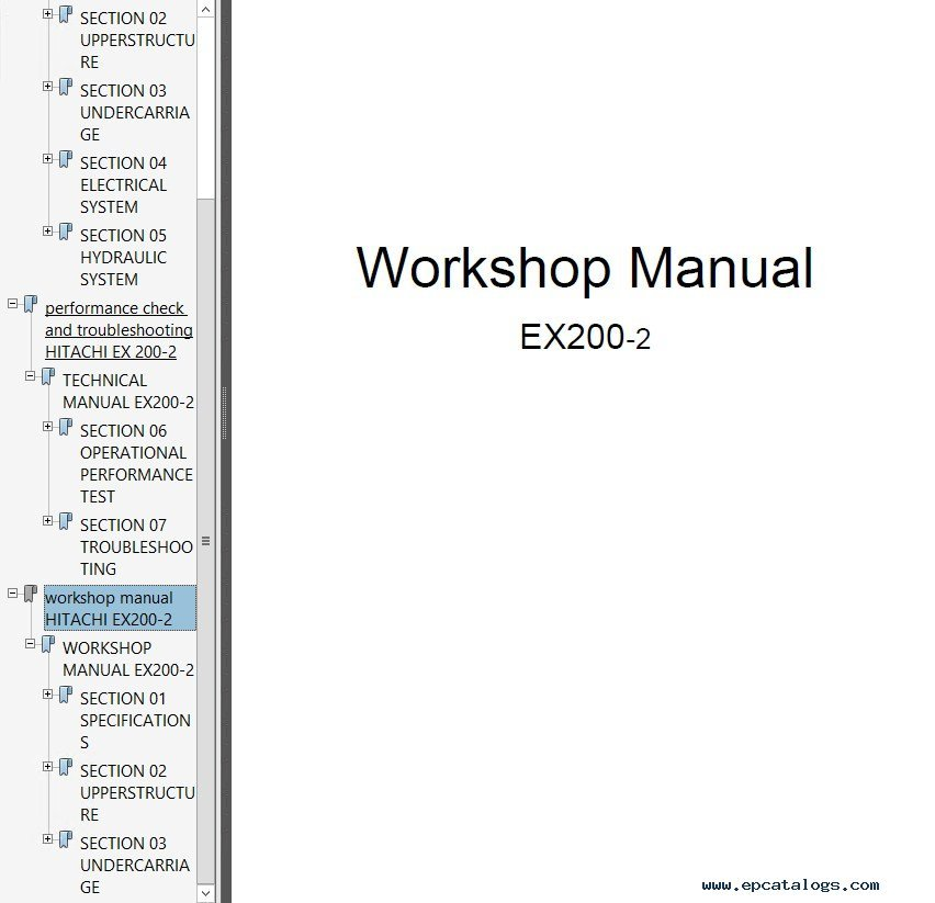 hitachi ex200 2 excavator technical workshop manual pdf rh epcatalogs com Hitachi EX200LC hitachi ex200-2 parts manual