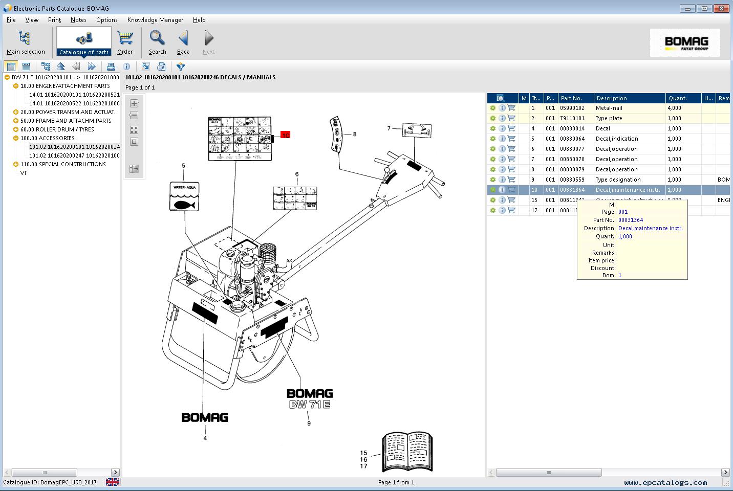 spare parts catalog BOMAG Electronic Parts Catalogue 07/2017 - 6