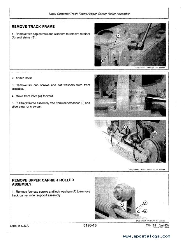 John Deere 450D, 455D Crawler Bulldozer and Loader TM1291 Technical Manual  PDF