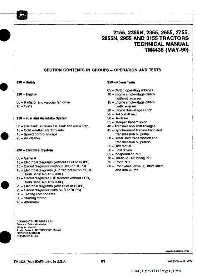 john deere tractors tm4436 technical manual pdf wiring diagram for john deere 2755