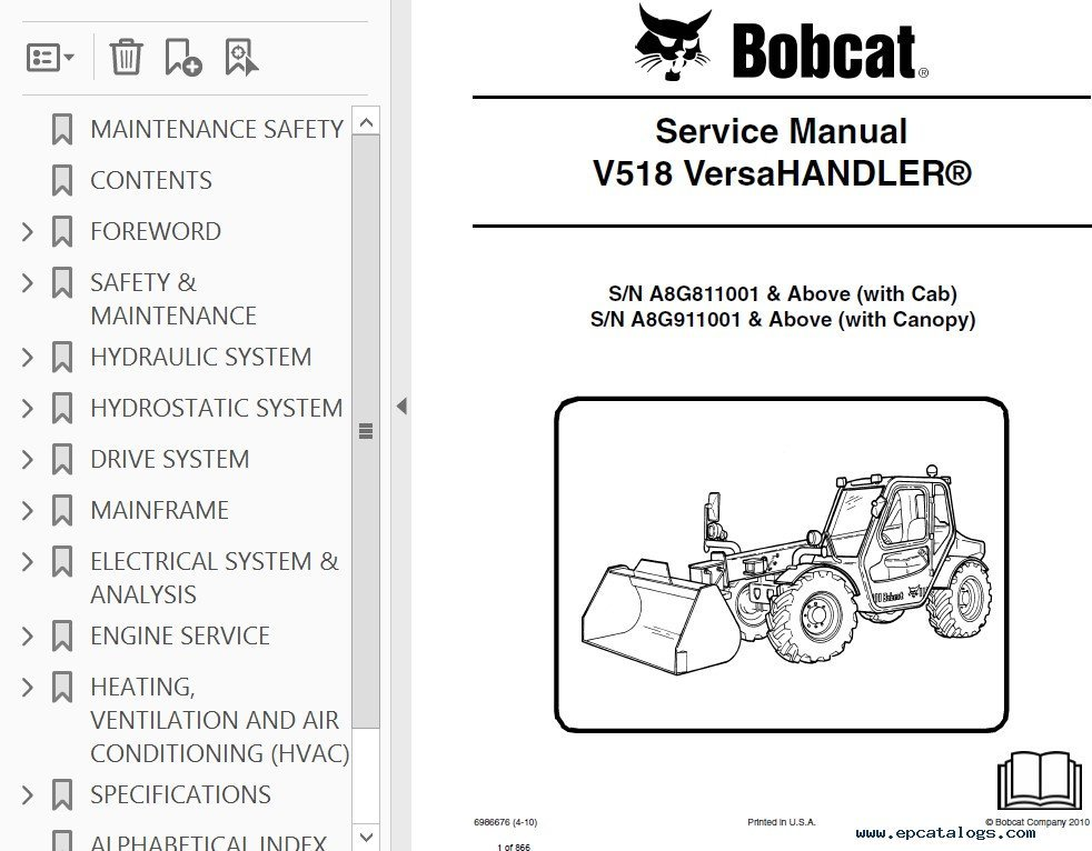 bobcat v518 versahandler service manual pdf rh epcatalogs com Bobcat Toolcat Bobcat V518 Enclosed Cab