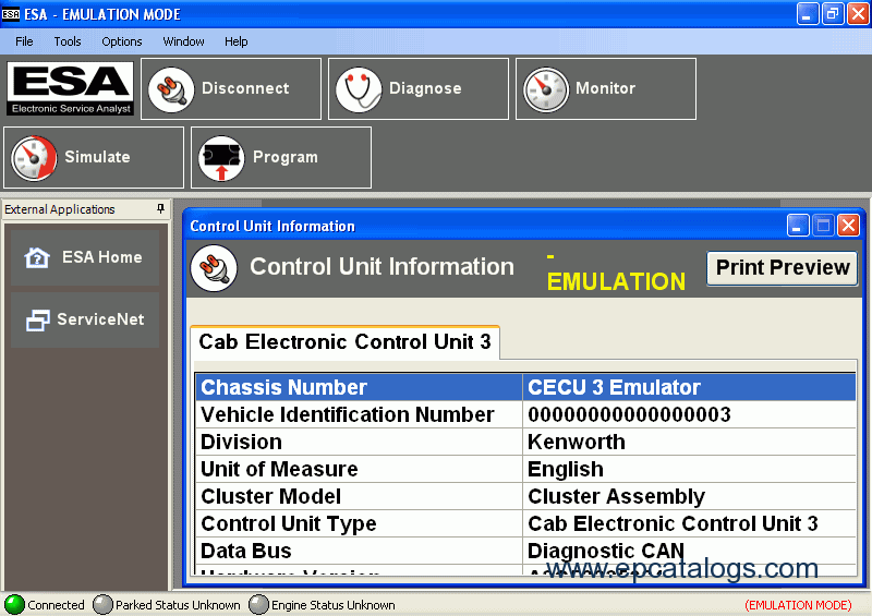 Paccar ESA Electronic Service Analyst 5 1 19051 1 Diagnostic Software with  Flash Files