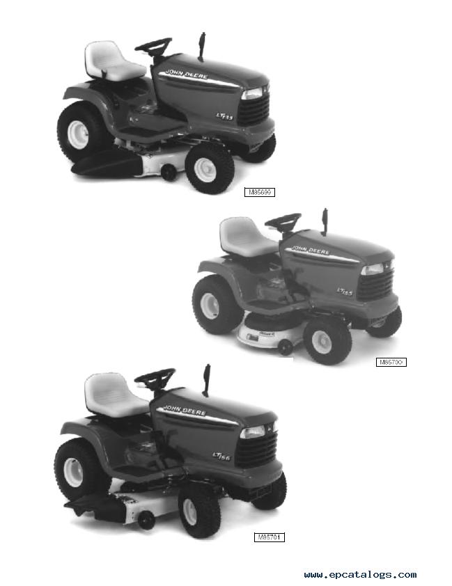 john deere lt133 lt155 lt166 lawn tractors repair manual pdf rh epcatalogs com john deere lt166 manual download john deere lt166 manual pdf free