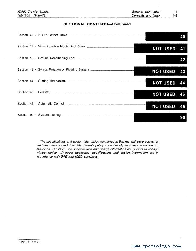 John Deere JD855 Crawler Loader TM1165 Technical Manual on