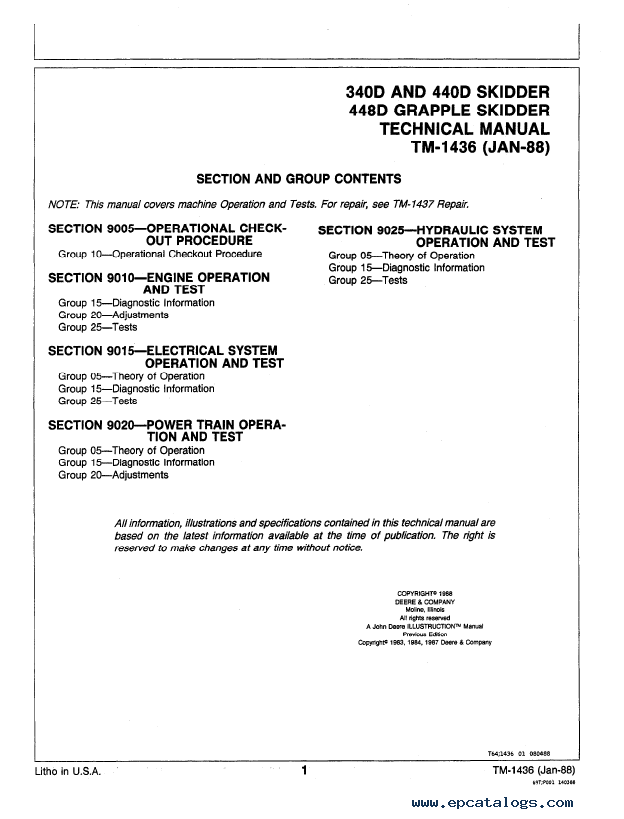 John Deere 340D, 440D, 448D Operation and Tests TM1436 Technical Manual PDF