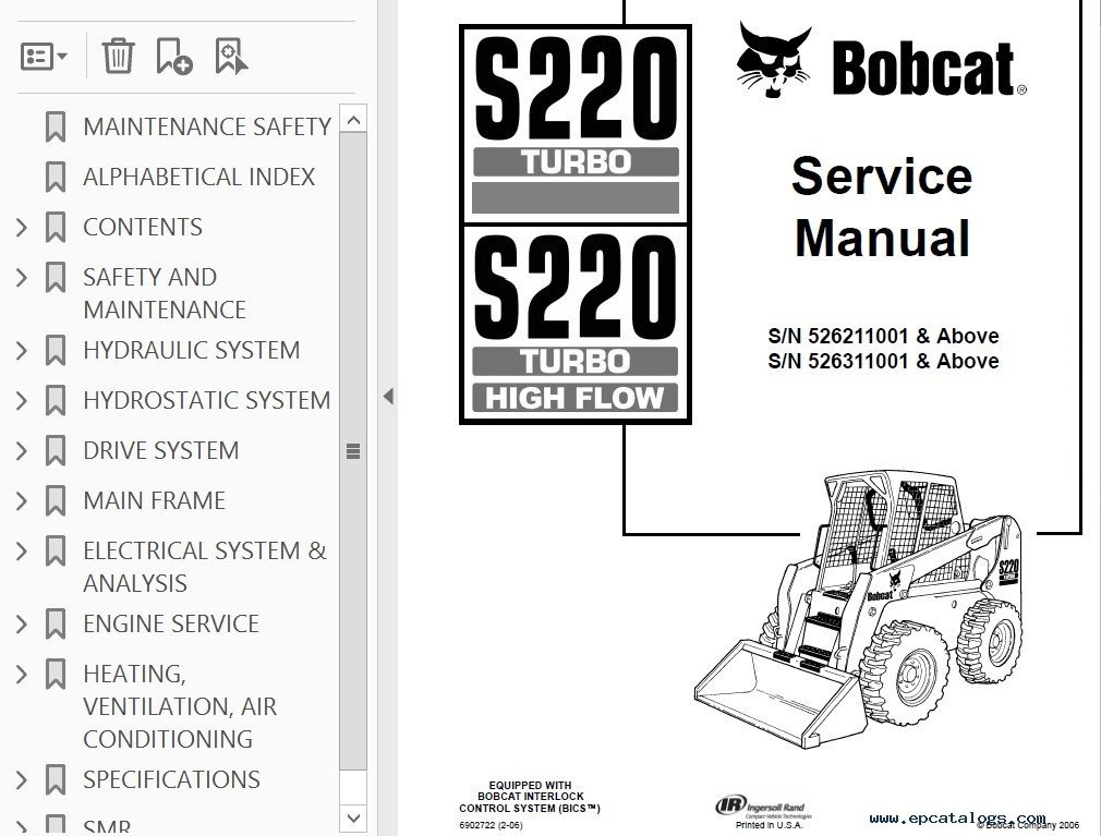Bobcat S220 Operations And Service Manual