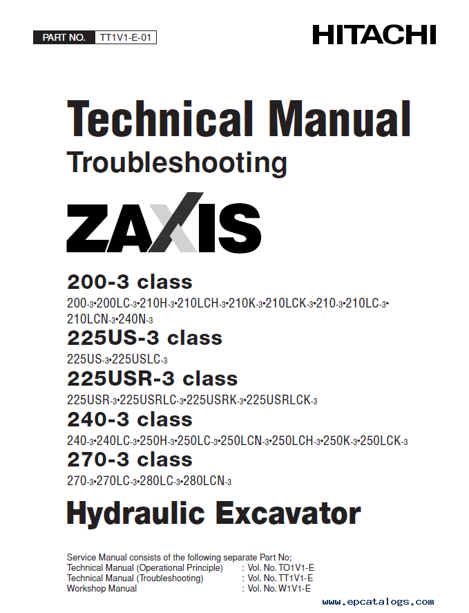 hitachi zaxis 200 3 225us 3 225usr 3 240 3 270 3 pdf rh epcatalogs com Hitachi Equipment Service Manual Hitachi Equipment Service Manual