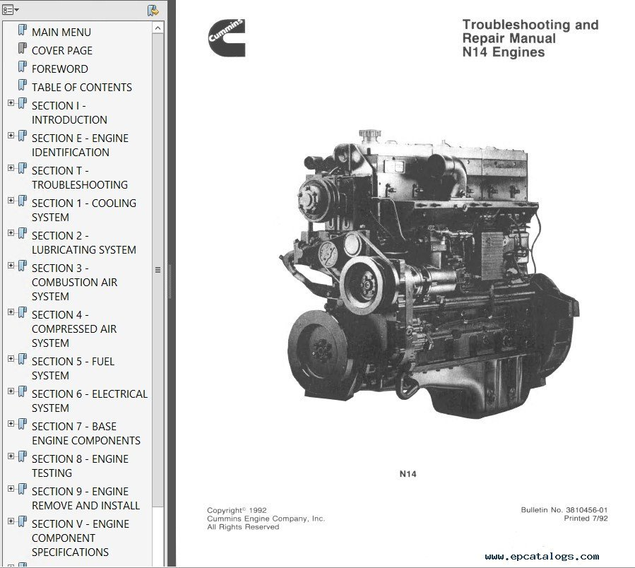 Cummins N14 Engines Shop  U0026 Troubleshooting  U0026 Repair Manual Pdf