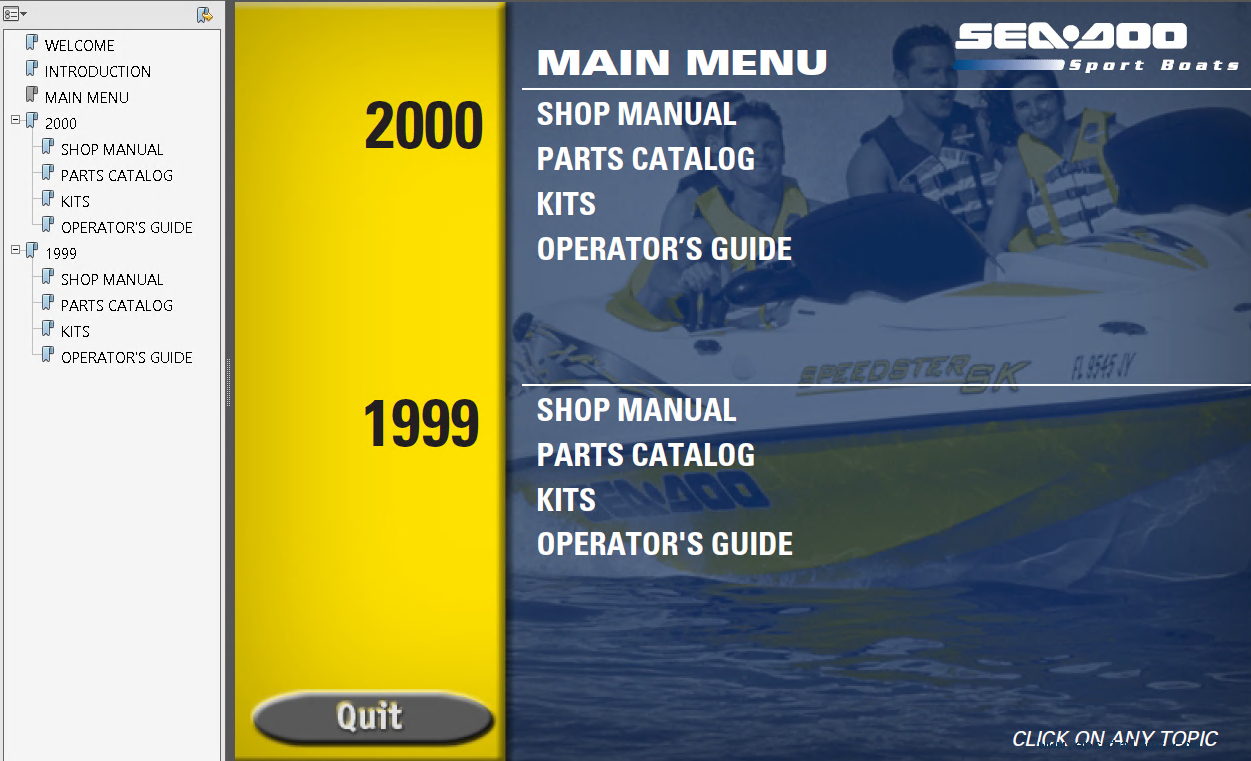 repair manual Sea Doo Sport Boats Challenger & Speedster & Sportster 2000  Technical Publications - 1
